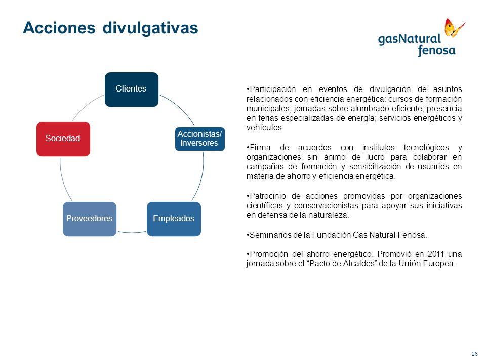 26 Acciones divulgativas Clientes Accionistas/ Inversores EmpleadosProveedoresSociedad Participación en eventos de divulgación de asuntos relacionados