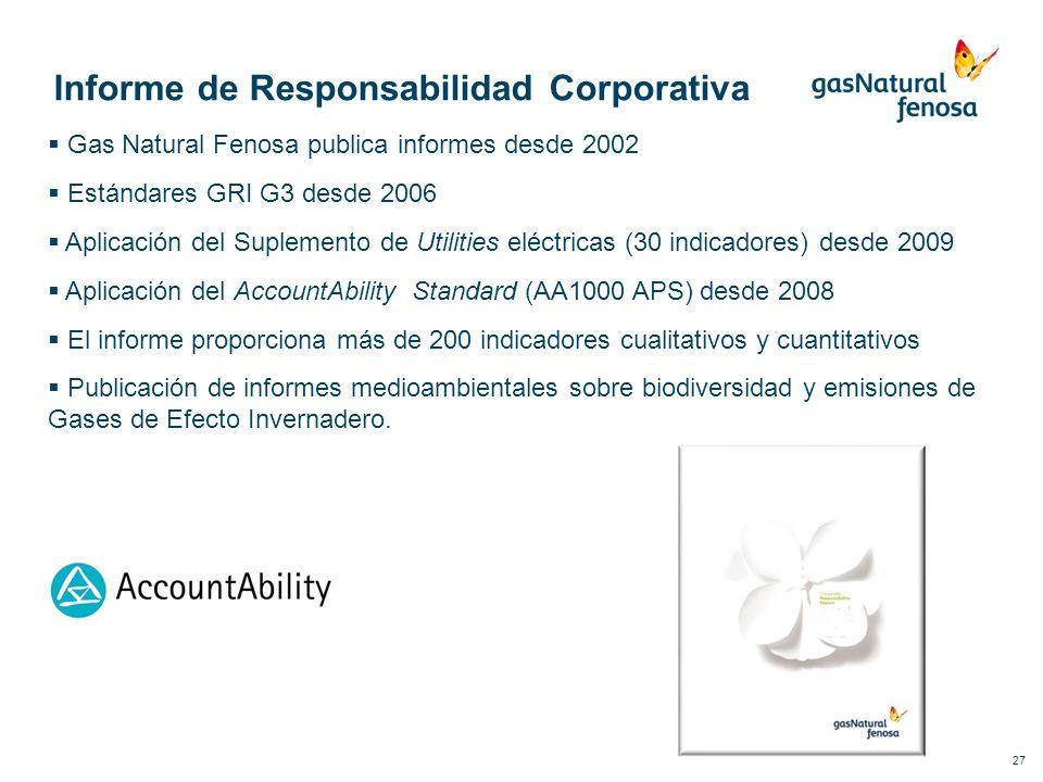 27 Informe de Responsabilidad Corporativa Gas Natural Fenosa publica informes desde 2002 Estándares GRI G3 desde 2006 Aplicación del Suplemento de Uti