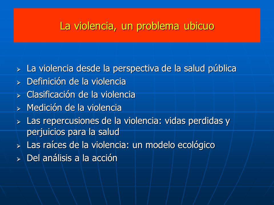La violencia, un problema ubicuo La violencia desde la perspectiva de la salud pública La violencia desde la perspectiva de la salud pública Definició