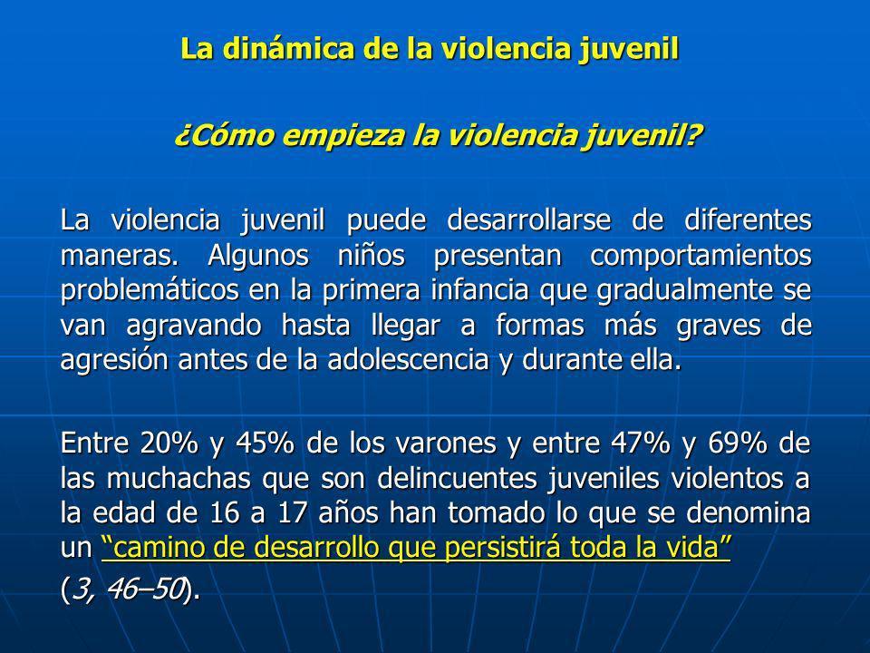 ¿Cómo empieza la violencia juvenil? La violencia juvenil puede desarrollarse de diferentes maneras. Algunos niños presentan comportamientos problemáti