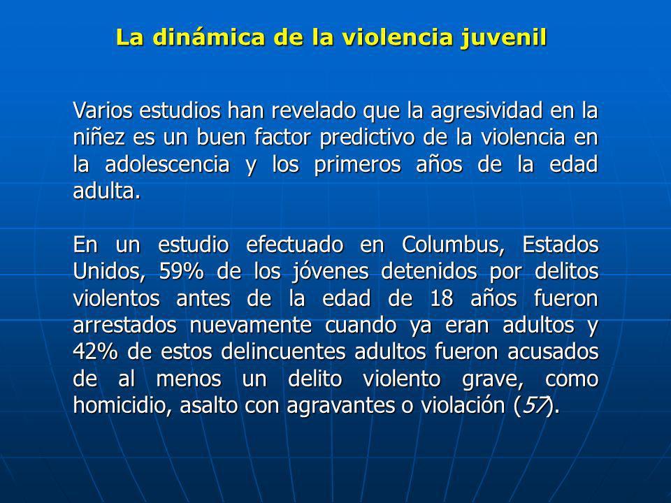 La dinámica de la violencia juvenil Varios estudios han revelado que la agresividad en la niñez es un buen factor predictivo de la violencia en la ado