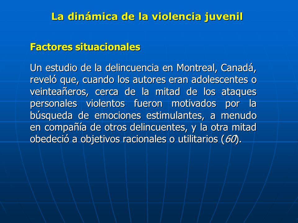 La dinámica de la violencia juvenil Factores situacionales Un estudio de la delincuencia en Montreal, Canadá, reveló que, cuando los autores eran adol