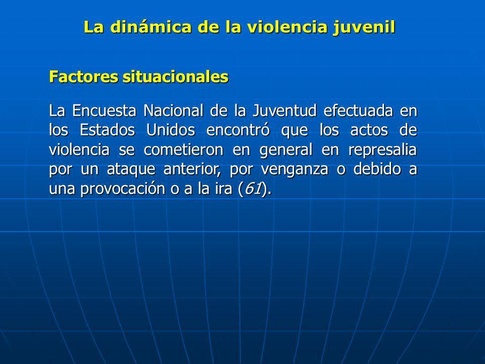 La dinámica de la violencia juvenil Factores situacionales La Encuesta Nacional de la Juventud efectuada en los Estados Unidos encontró que los actos