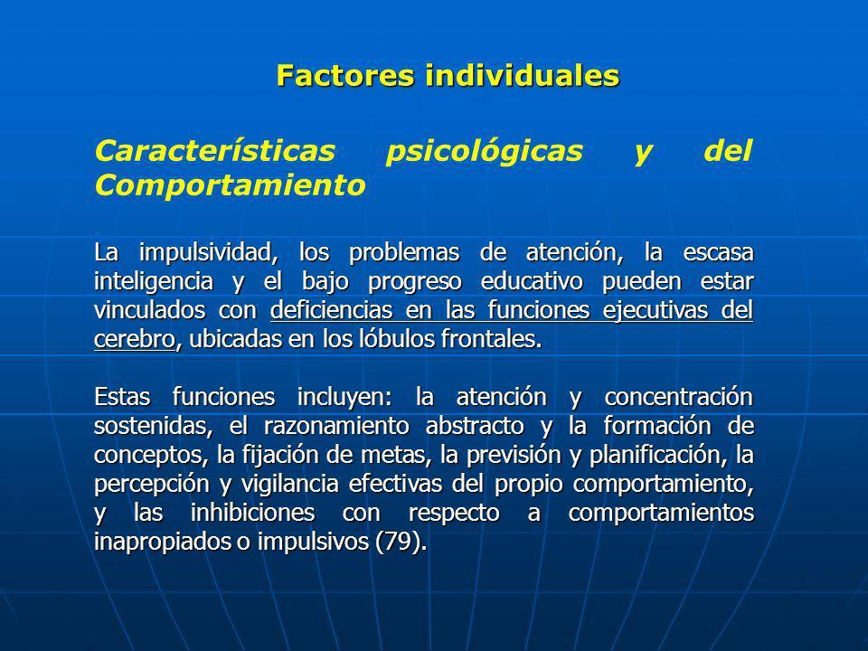 Factores individuales Características psicológicas y del Comportamiento La impulsividad, los problemas de atención, la escasa inteligencia y el bajo p