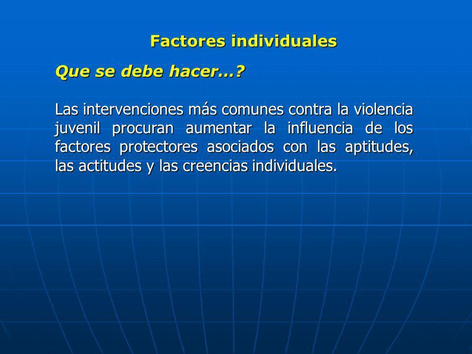 Factores individuales Que se debe hacer…? Las intervenciones más comunes contra la violencia juvenil procuran aumentar la influencia de los factores p