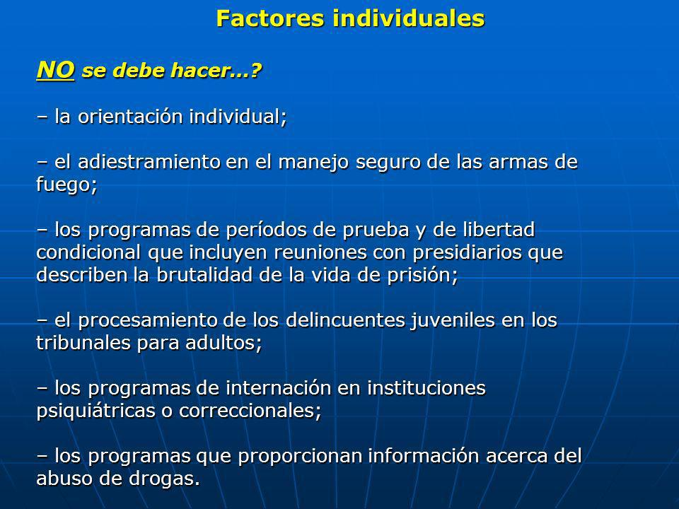 Factores individuales NO se debe hacer…? – la orientación individual; – el adiestramiento en el manejo seguro de las armas de fuego; – los programas d