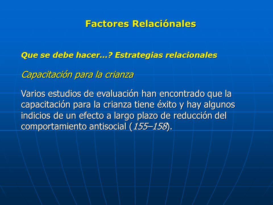 Factores Relaciónales Que se debe hacer…? Estrategias relacionales Capacitación para la crianza Varios estudios de evaluación han encontrado que la ca