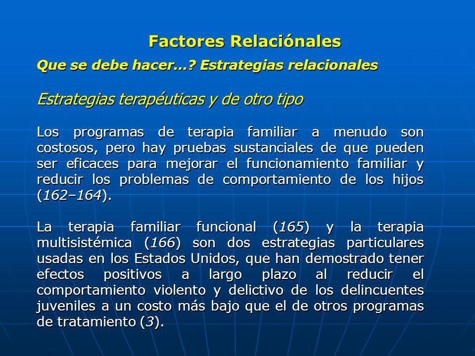 Factores Relaciónales Que se debe hacer…? Estrategias relacionales Estrategias terapéuticas y de otro tipo Los programas de terapia familiar a menudo