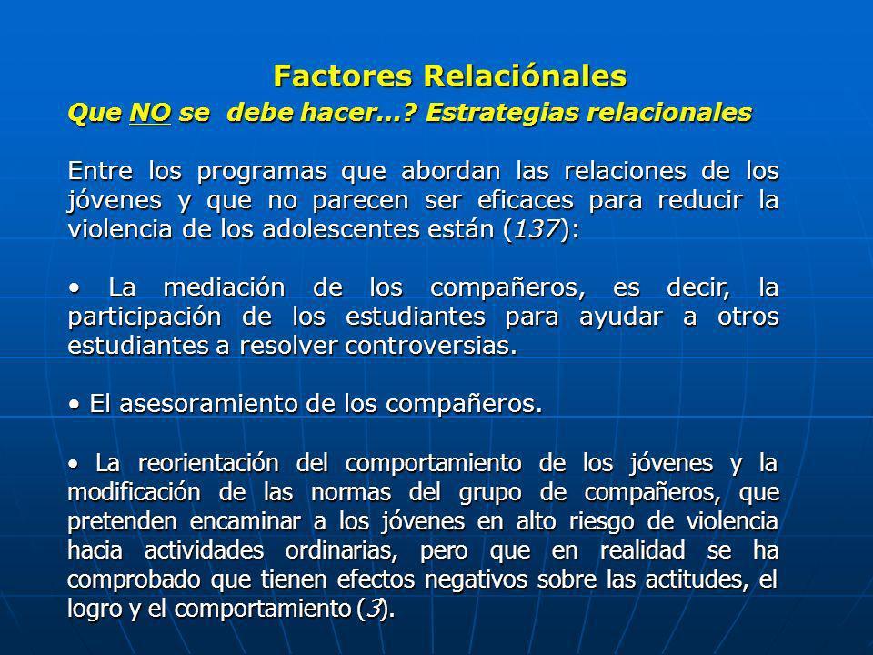Factores Relaciónales Que NO se debe hacer…? Estrategias relacionales Entre los programas que abordan las relaciones de los jóvenes y que no parecen s