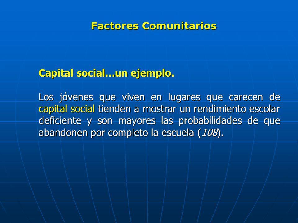 Factores Comunitarios Capital social…un ejemplo. Los jóvenes que viven en lugares que carecen de capital social tienden a mostrar un rendimiento escol