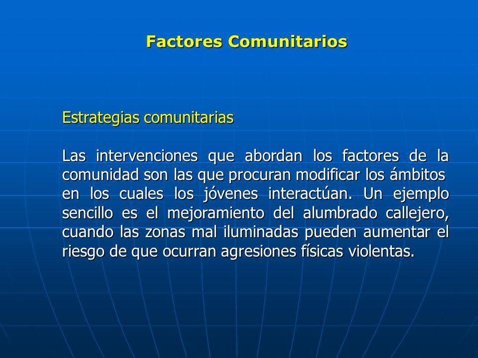 Factores Comunitarios Estrategias comunitarias Las intervenciones que abordan los factores de la comunidad son las que procuran modificar los ámbitos