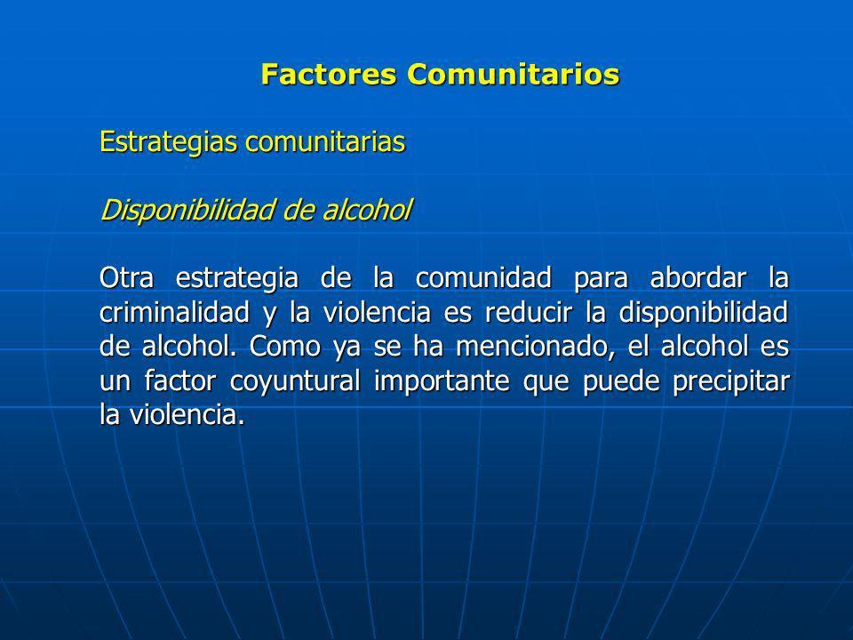 Factores Comunitarios Estrategias comunitarias Disponibilidad de alcohol Otra estrategia de la comunidad para abordar la criminalidad y la violencia e