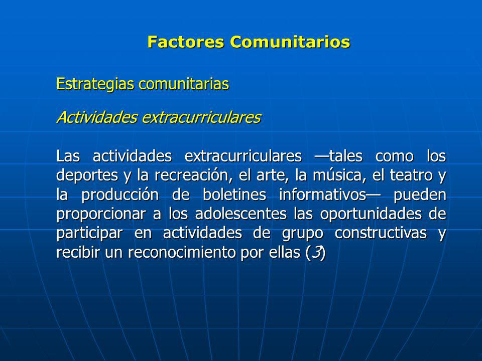 Factores Comunitarios Estrategias comunitarias Actividades extracurriculares Las actividades extracurriculares tales como los deportes y la recreación