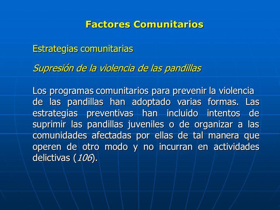 Factores Comunitarios Estrategias comunitarias Supresión de la violencia de las pandillas Los programas comunitarios para prevenir la violencia de las