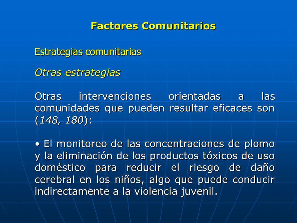 Factores Comunitarios Estrategias comunitarias Otras estrategias Otras intervenciones orientadas a las comunidades que pueden resultar eficaces son (1