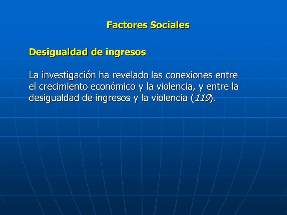 Factores Sociales Desigualdad de ingresos La investigación ha revelado las conexiones entre el crecimiento económico y la violencia, y entre la desigu
