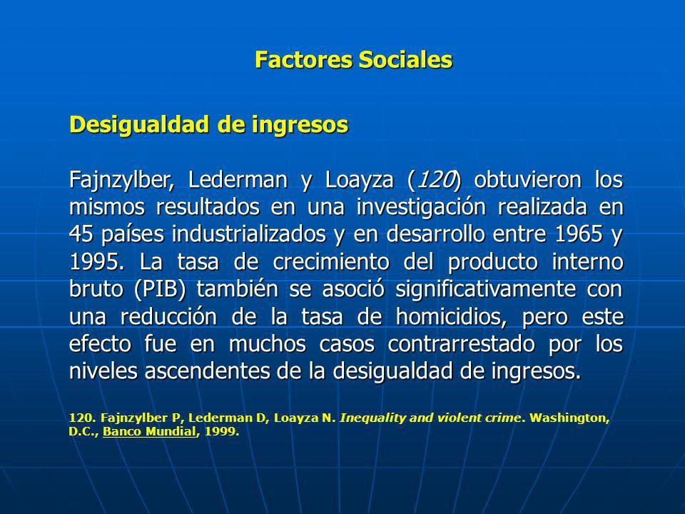 Factores Sociales Desigualdad de ingresos Fajnzylber, Lederman y Loayza (120) obtuvieron los mismos resultados en una investigación realizada en 45 pa