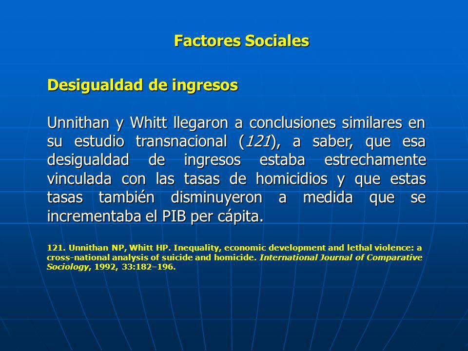 Factores Sociales Desigualdad de ingresos Unnithan y Whitt llegaron a conclusiones similares en su estudio transnacional (121), a saber, que esa desig