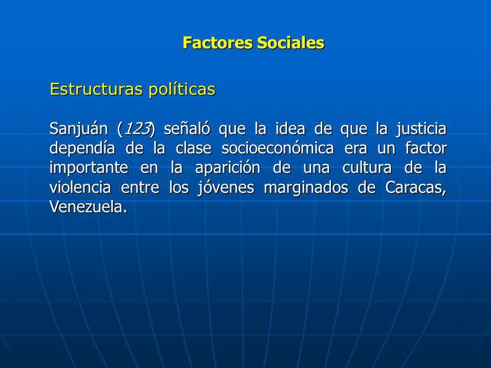 Factores Sociales Estructuras políticas Sanjuán (123) señaló que la idea de que la justicia dependía de la clase socioeconómica era un factor importan
