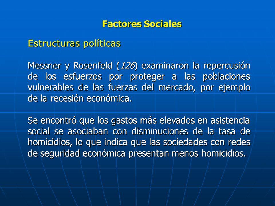 Factores Sociales Estructuras políticas Messner y Rosenfeld (126) examinaron la repercusión de los esfuerzos por proteger a las poblaciones vulnerable