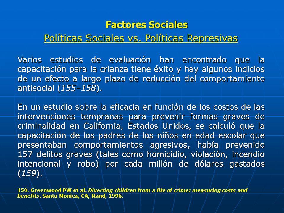 Factores Sociales Políticas Sociales vs. Políticas Represivas Varios estudios de evaluación han encontrado que la capacitación para la crianza tiene é