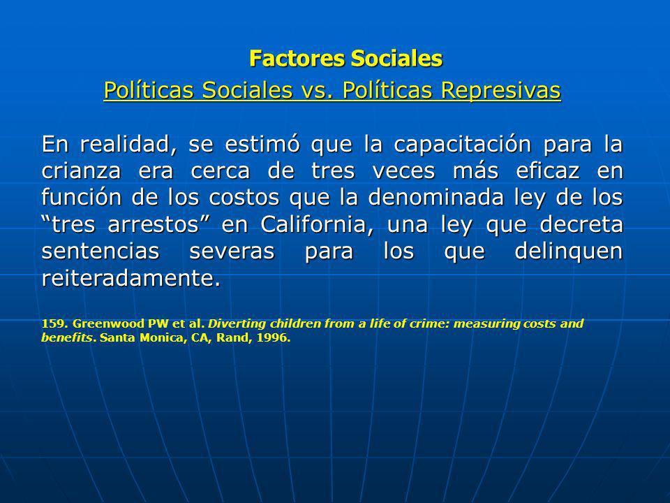 Factores Sociales Políticas Sociales vs. Políticas Represivas En realidad, se estimó que la capacitación para la crianza era cerca de tres veces más e