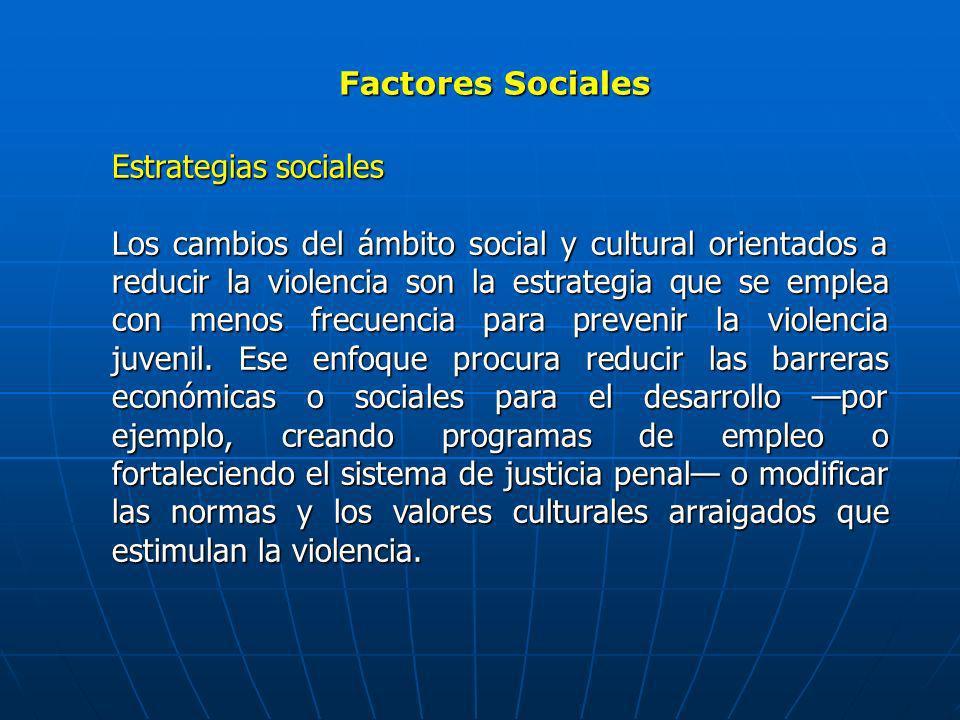 Factores Sociales Estrategias sociales Los cambios del ámbito social y cultural orientados a reducir la violencia son la estrategia que se emplea con