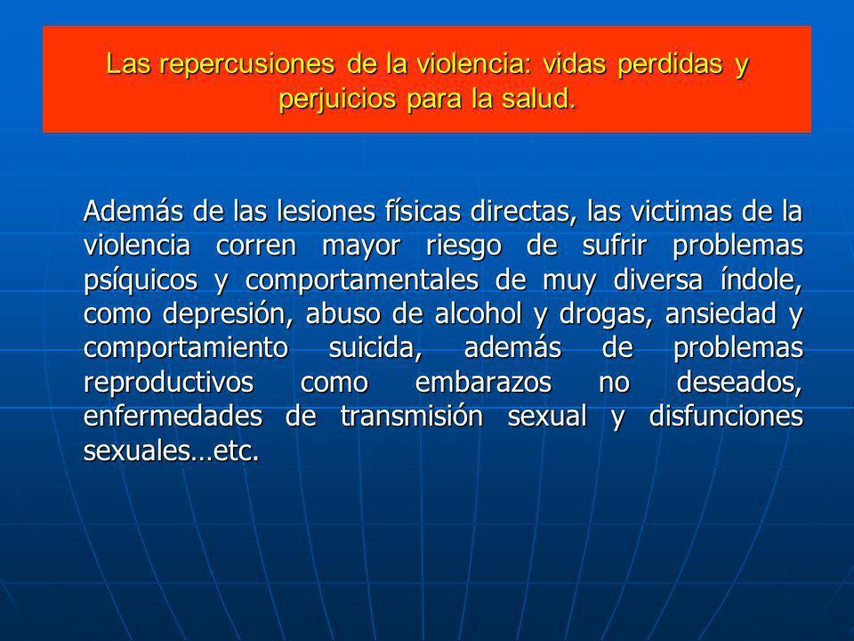 Además de las lesiones físicas directas, las victimas de la violencia corren mayor riesgo de sufrir problemas psíquicos y comportamentales de muy dive