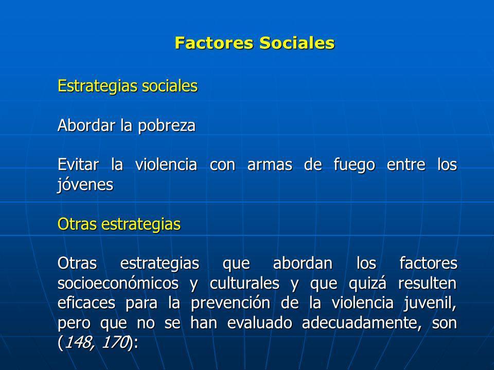 Factores Sociales Estrategias sociales Abordar la pobreza Evitar la violencia con armas de fuego entre los jóvenes Otras estrategias Otras estrategias