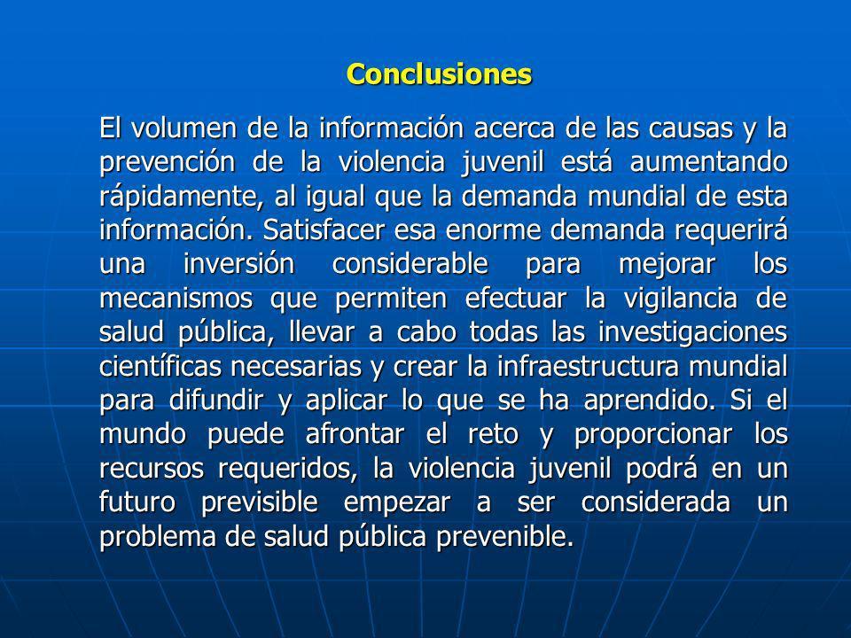 Conclusiones El volumen de la información acerca de las causas y la prevención de la violencia juvenil está aumentando rápidamente, al igual que la de