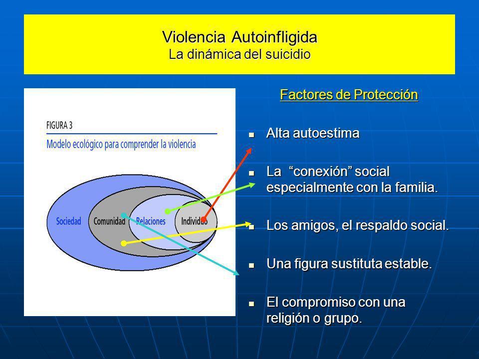 Violencia Autoinfligida La dinámica del suicidio Factores de Protección Alta autoestima Alta autoestima La conexión social especialmente con la famili