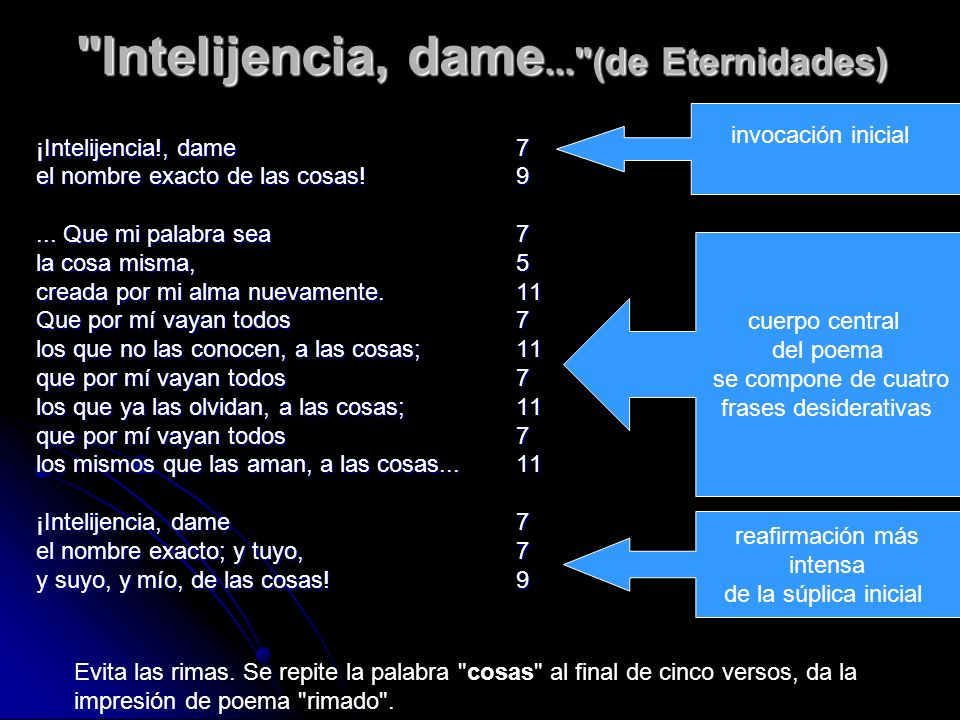 Intelijencia, dame... (de Eternidades) ¡Intelijencia!, dame7 el nombre exacto de las cosas.