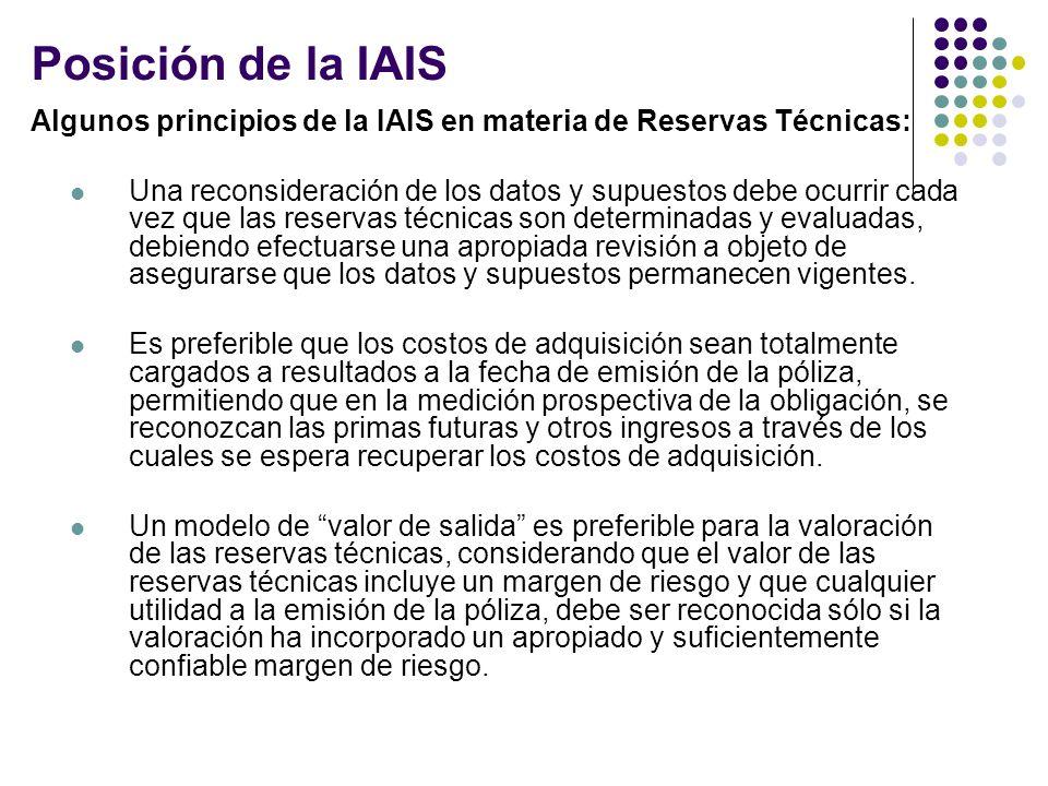 Posición de la IAIS Algunos principios de la IAIS en materia de Reservas Técnicas: Una reconsideración de los datos y supuestos debe ocurrir cada vez