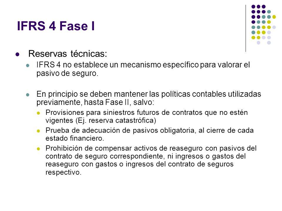 IFRS 4 Fase I Reservas técnicas: IFRS 4 no establece un mecanismo específico para valorar el pasivo de seguro. En principio se deben mantener las polí