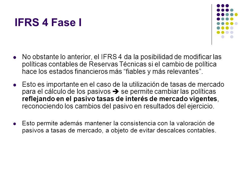IFRS 4 Fase I No obstante lo anterior, el IFRS 4 da la posibilidad de modificar las políticas contables de Reservas Técnicas si el cambio de política