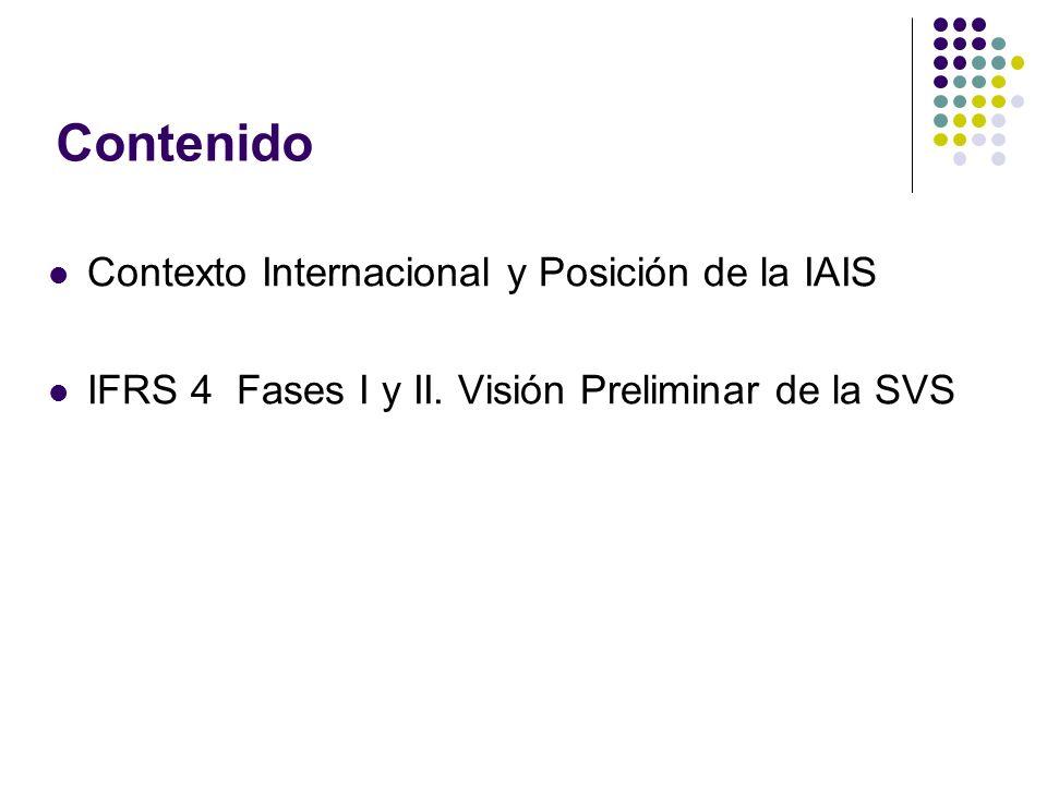 IFRS 4 : Valoración del contrato de seguros para aseguradoras Calendario de implementación: DISCUSION FASE II IMPLEMENTACION FASE II FASE I Mar.
