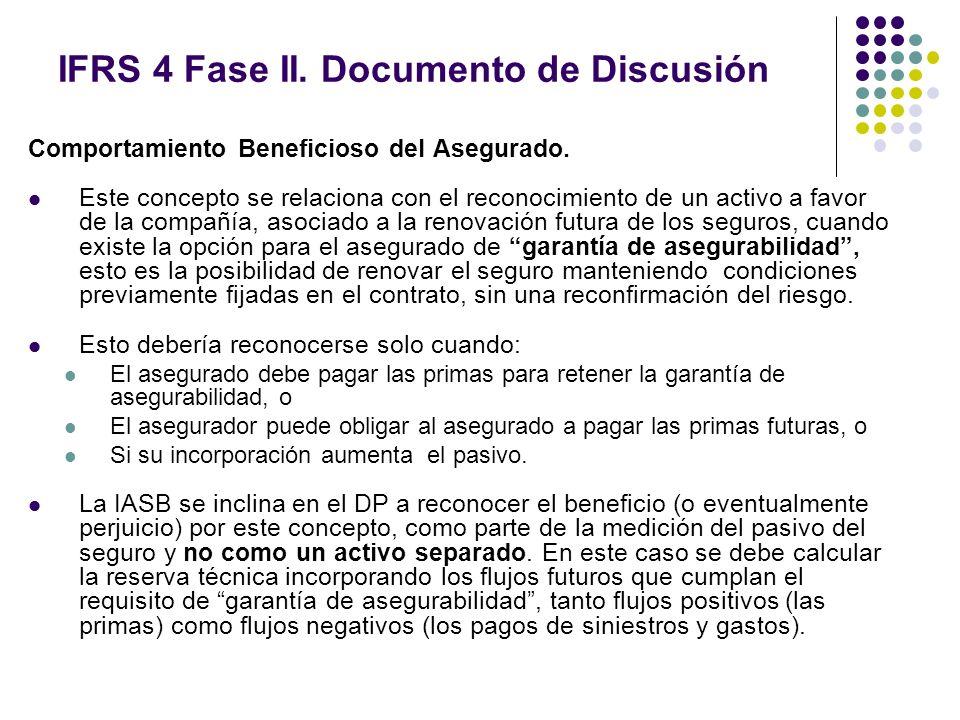 IFRS 4 Fase II. Documento de Discusión Comportamiento Beneficioso del Asegurado. Este concepto se relaciona con el reconocimiento de un activo a favor