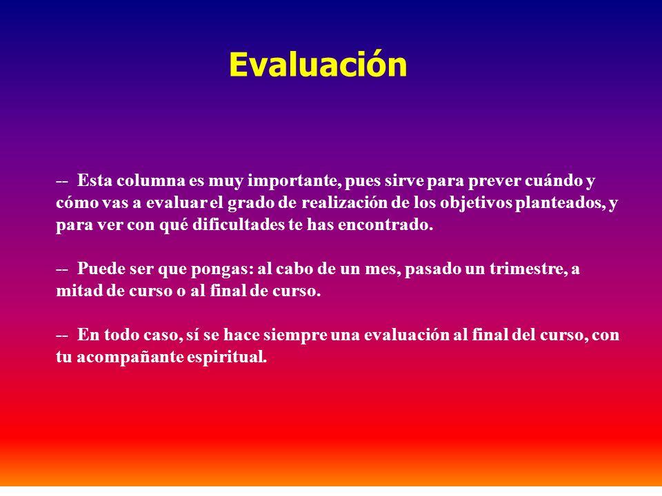 -- Esta columna es muy importante, pues sirve para prever cuándo y cómo vas a evaluar el grado de realización de los objetivos planteados, y para ver