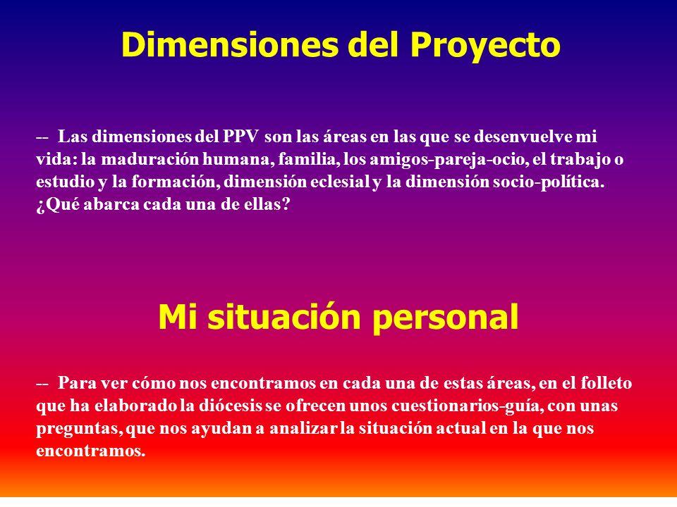 Dimensiones del Proyecto -- Las dimensiones del PPV son las áreas en las que se desenvuelve mi vida: la maduración humana, familia, los amigos-pareja-