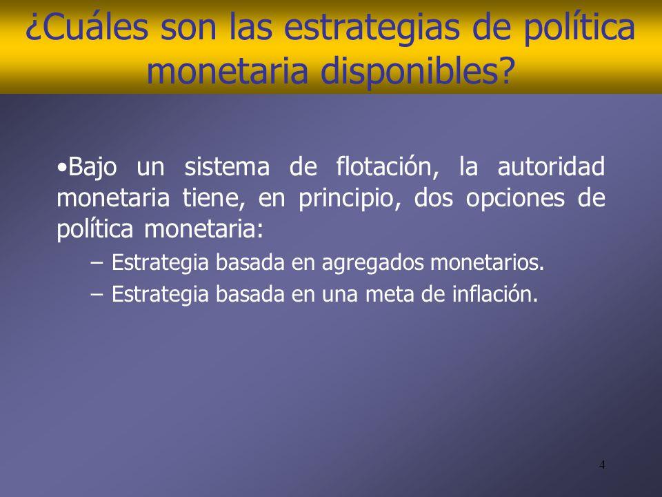 4 ¿Cuáles son las estrategias de política monetaria disponibles.