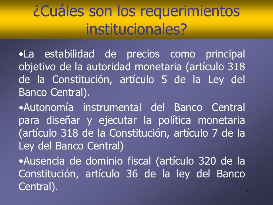 9 ¿Cuáles son los requerimientos institucionales.