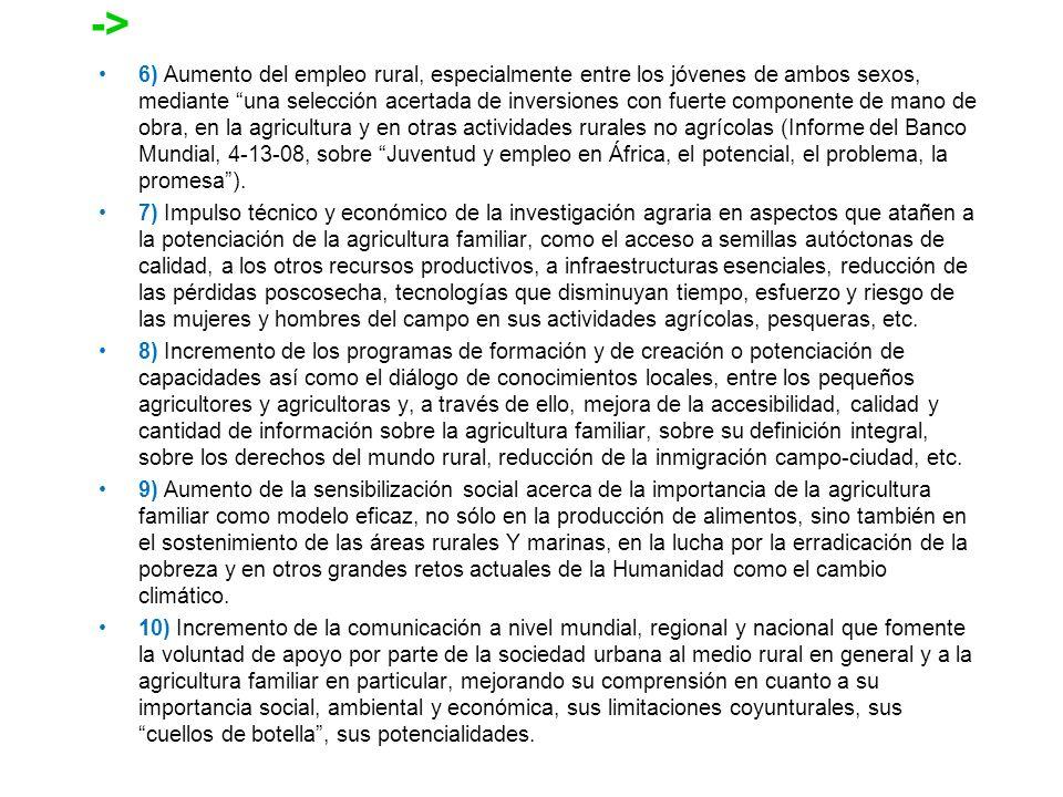 6) Aumento del empleo rural, especialmente entre los jóvenes de ambos sexos, mediante una selección acertada de inversiones con fuerte componente de m