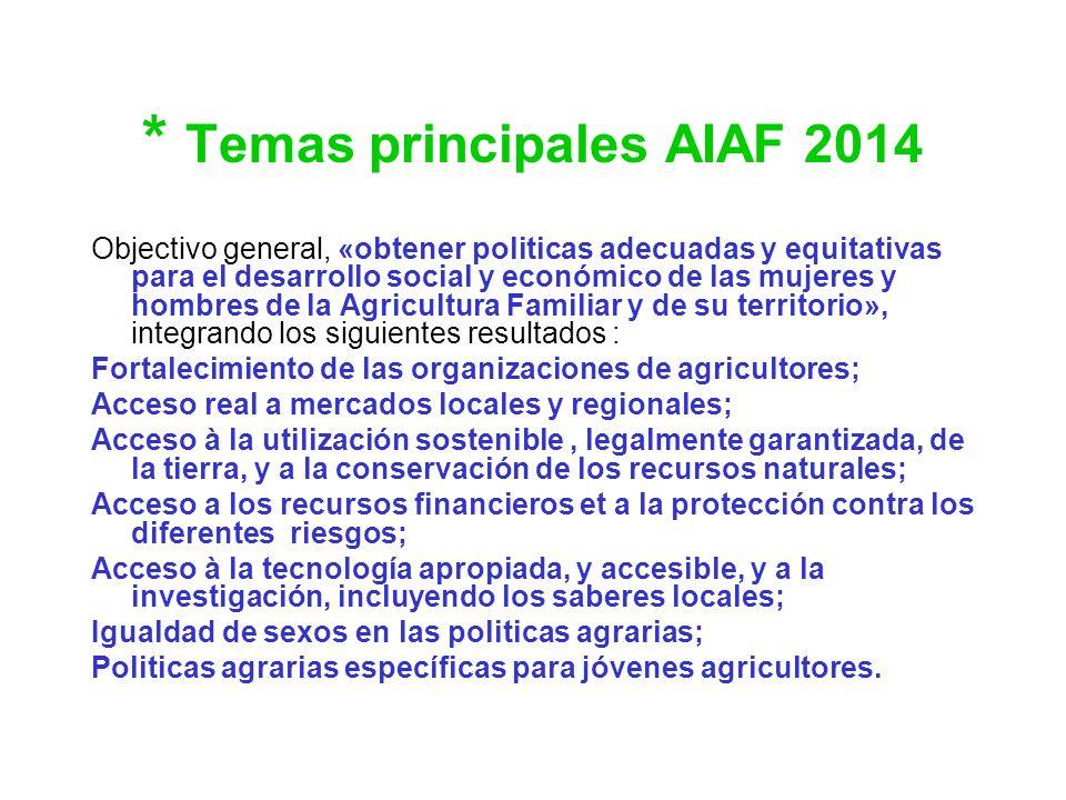 * Temas principales AIAF 2014 Objectivo general, «obtener politicas adecuadas y equitativas para el desarrollo social y económico de las mujeres y hom