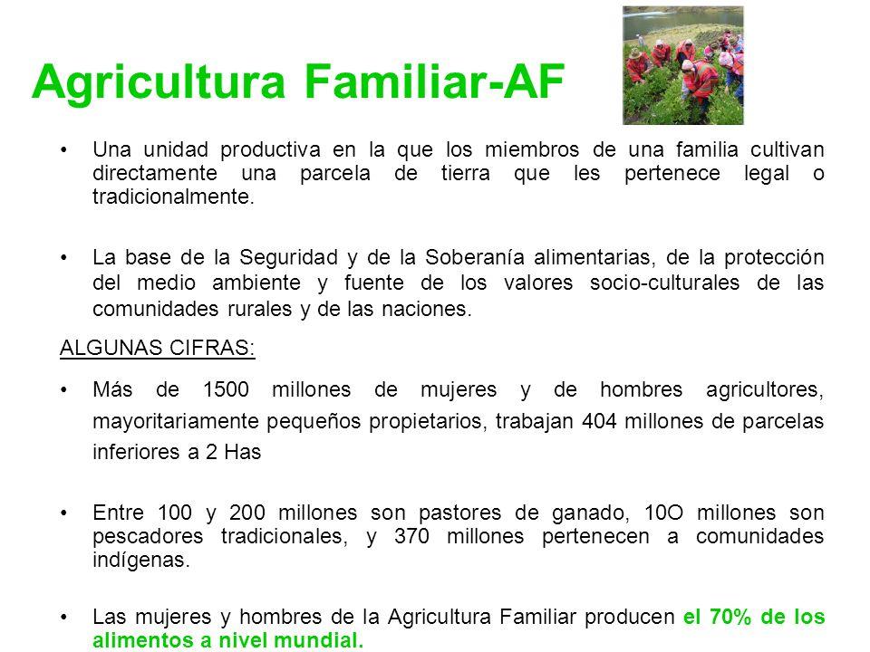 Agricultura Familiar-AF Una unidad productiva en la que los miembros de una familia cultivan directamente una parcela de tierra que les pertenece lega