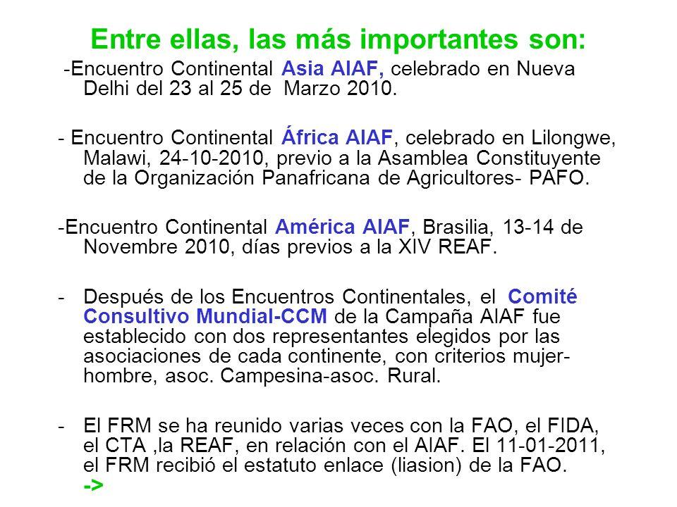 Entre ellas, las más importantes son: -Encuentro Continental Asia AIAF, celebrado en Nueva Delhi del 23 al 25 de Marzo 2010. - Encuentro Continental Á
