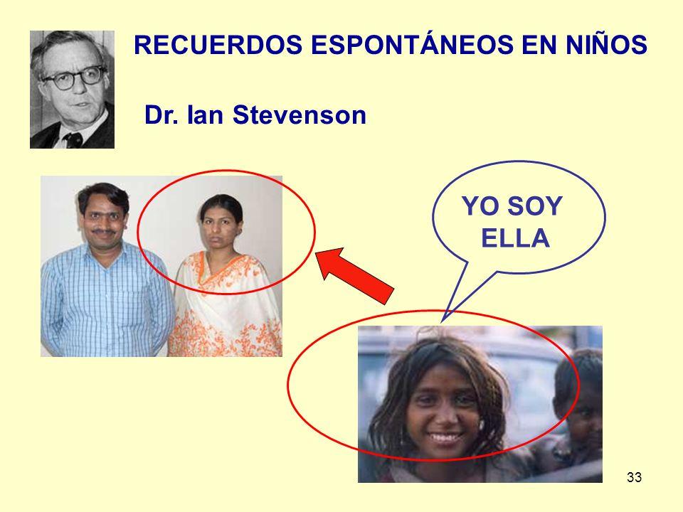 33 RECUERDOS ESPONTÁNEOS EN NIÑOS YO SOY ELLA Dr. Ian Stevenson
