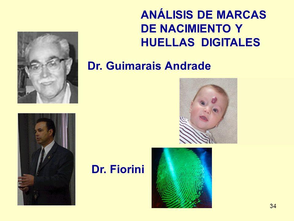 34 ANÁLISIS DE MARCAS DE NACIMIENTO Y HUELLAS DIGITALES Dr. Fiorini Dr. Guimarais Andrade