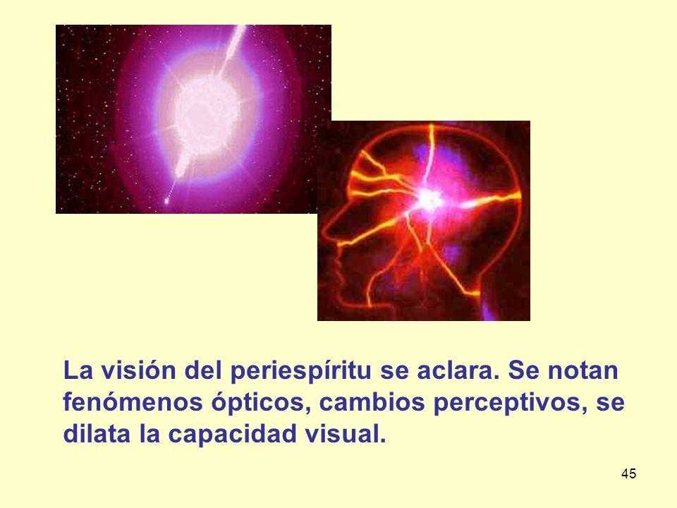 45 La visión del periespíritu se aclara. Se notan fenómenos ópticos, cambios perceptivos, se dilata la capacidad visual.