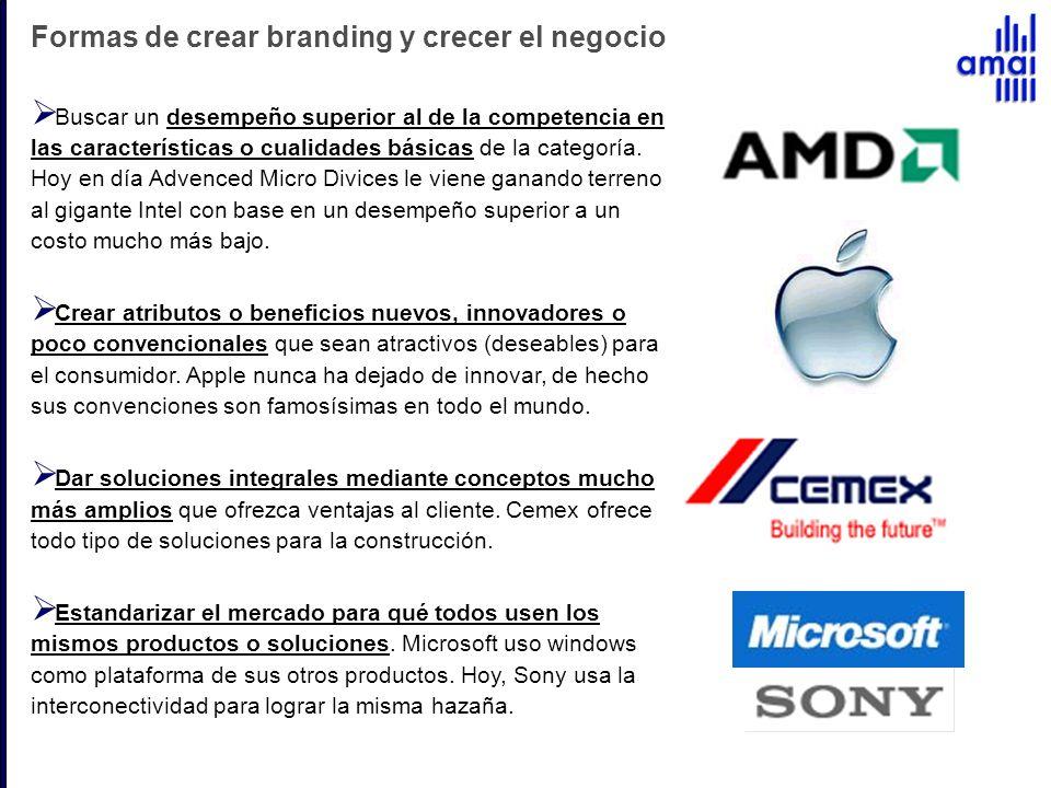 Formas de crear branding y crecer el negocio Buscar un desempeño superior al de la competencia en las características o cualidades básicas de la categ