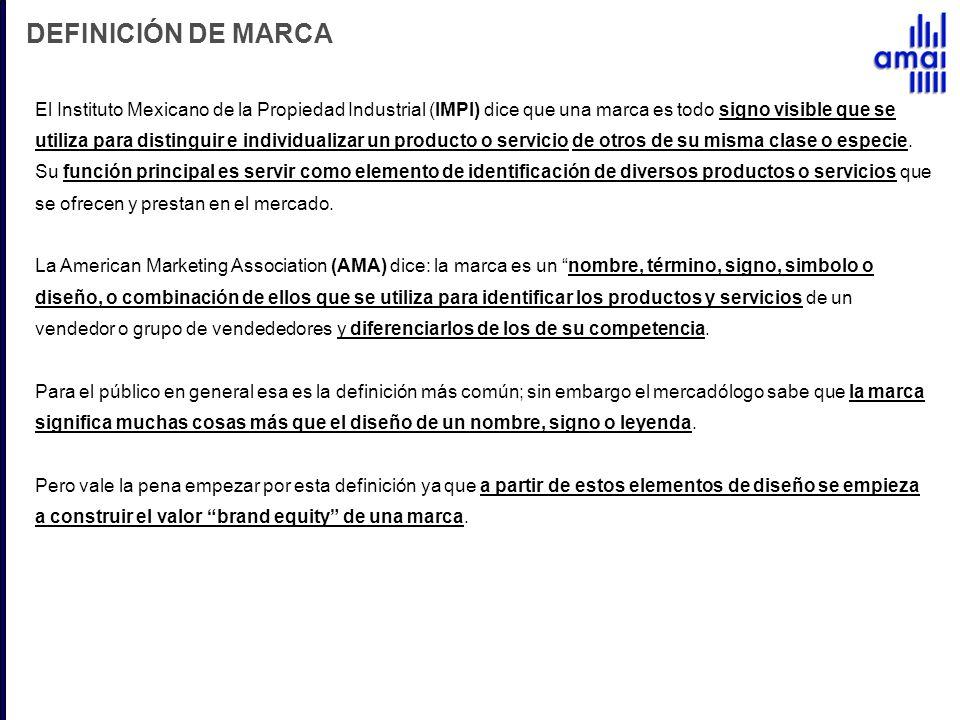 DEFINICIÓN DE MARCA El Instituto Mexicano de la Propiedad Industrial (IMPI) dice que una marca es todo signo visible que se utiliza para distinguir e